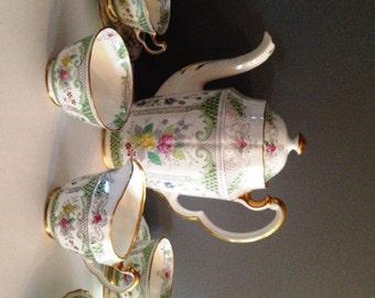 "15-Piece Adderley ""Lowestoft"" Tea / Coffee / Cocoa Fine Bone China Set - Made in England; New Vintage"