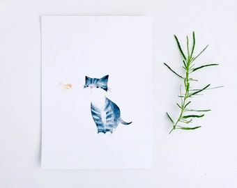 Postcard Watercolour Illustration Cat A5 Print -The Messenger