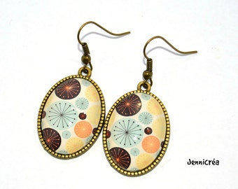 Bronze image earrings yellow blue orange brown retro