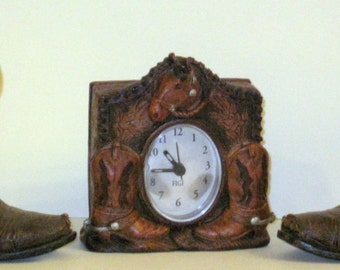 Small Clock-- With  Horse Head and   Cowboy Boots around  This Desk  Clock.  ALSO   2  Cowboy Boot Figurines . Western, Country Decor. Cute.
