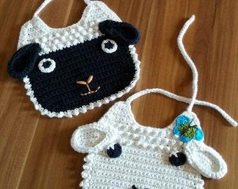 sheep baby bib, lamb baby bib, crochet baby bib, handmade crochet bib