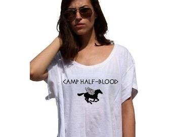 Camp Half Blood - 80s Crop Top Ladies Watercolor Print Tshirt - Watercolor Painting sublimation image tshirt colorful designs