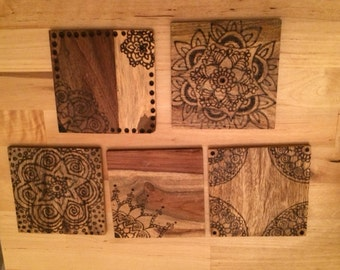 Wooden hand burned coasters