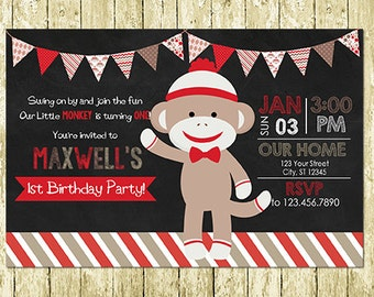 Boy Sock Monkey Digital Chalkboard Birthday Invitations