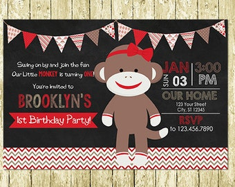 Girl Sock Monkey Printed Chalkboard Birthday Invitations