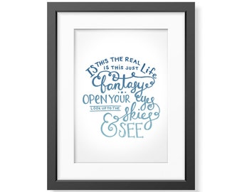 Printable Art Lyrics | Bohemian Rhapsody - Queen | Handlettered