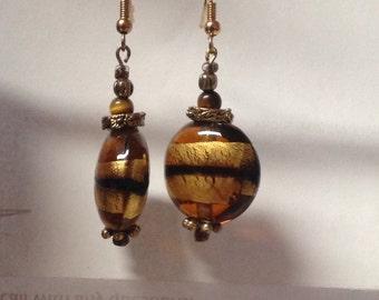 Brown Beaded Dangle Earrings