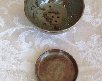 Small Green Colander/ Berry bowl with small plate.