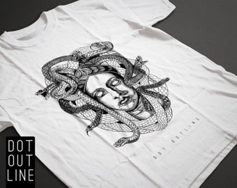 The Protectress T-Shirt - Small - Screenprinted - Medusa - Snakes - Dotwork Linedrawing