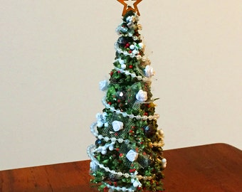 Dollhouse Christmas Tree, Holiday Decor 1:12 scale, adorned with brass star, lace, silk white roses, beads and berries