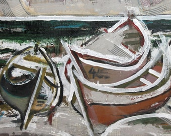 Vintage Avant Garde seascape boats oil collage painting signed