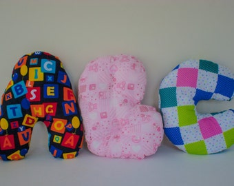 3D Alphabet Initial Letter Pillow, Kid's Bedroom, Nursery Decoration, ABC pattern A, Pink Girls B, Patchwork C, Customisation available, RTS