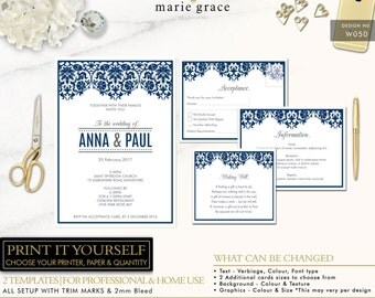 Navy Lace Damask Wedding Invitation Printable, Vintage Wedding Invite template
