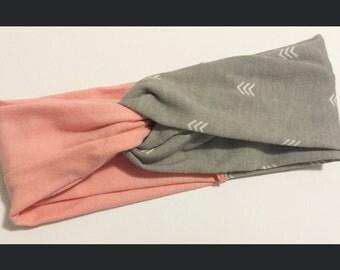 Pink & Gray Twist Turban Headband