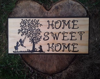 Home Sweet Home Children Playing wood sign carving rustic primitive spring wall decor