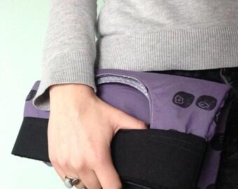 Blueberry Clutch Handbag Purple Hand Printed