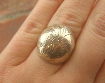 Vintage Etched Sterling Silver Ring--1930s Time Period?!?