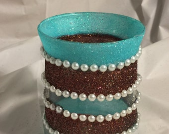 Pearls and Stripes Vase/Candle Holder