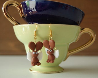 Flying Bunny Earrings / Vliegende Konijnen Oorbellen