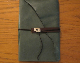 Large Green Leather Journal with Antler Button