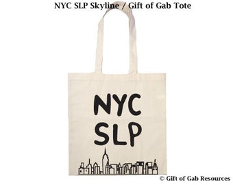 NYC SLP & Skyline- Cotton Tote Bag Speech Pathologist Tote Bag, Speech Language,teacher, New York, Recycling Bag, Reusable Cotten Tote