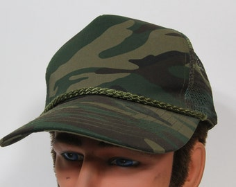 Vintage 90s Camo Trucker Hat // Camouflage Mesh Cap // Baseball Snapback // Hunting Army Country