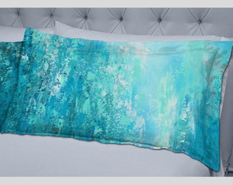 Teal blue turquoise gray, Pillow shams, Modern Decorative pillows, Bedroom decor, Abstract art, Contemporary, Home Decor, Designer bedding