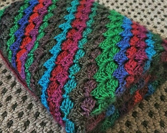 OOAK Handmade Diagonal Crochet Blanket, Throw, Afghan - Child or Baby - Jewel Colours - Approx 71cm Square