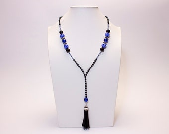 Necklace medium black and blue, black Pompom