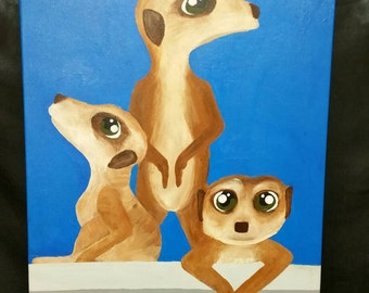 Meerkats In The City *Original*20x16 Created by LB Campbell of Little Robot Heart