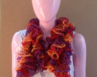 Colorful Knitted Ruffled Scarf, Ruffle scarf in orange, red and lilac, perfect gift