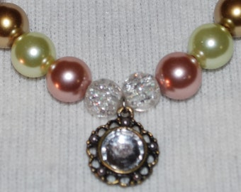 Vintage Beaded Necklace Pearls with Crystals and Crystal Pendant
