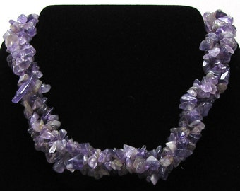 """Natural amethyst chip bead necklace 17"""" with extenstion 15221"""