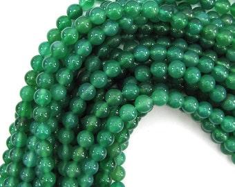 "8mm green onyx round beads 15"" strand 12825"