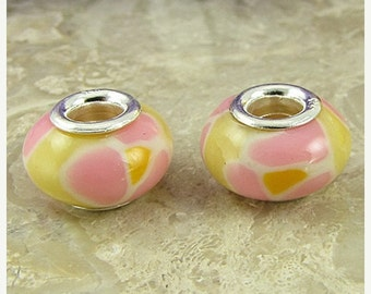 40% CLEARANCE 2 sterling silver lampwork glass beads fit 0233 14489