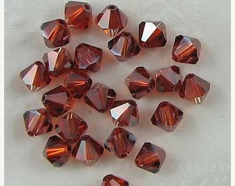 40% CLEARANCE 24 6mm Swarovski crystal bicone 5301 Crystal Red Magma 3882