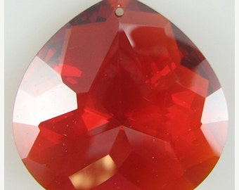 40% CLEARANCE 30mm faceted CZ cubic zirconia briolette pendant red 4889