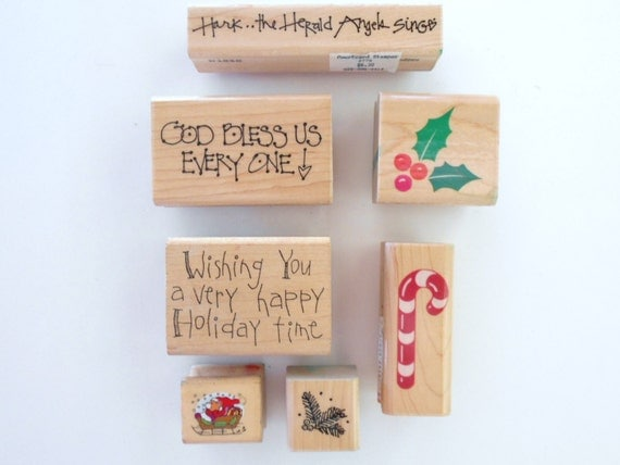 Assorted Christmas Rubber Stamps Scrapbooking Stamps Holiday Stamps Retired Rubber Stamps Craft Stamps Card Maker Stamps Set of 7 Stamps