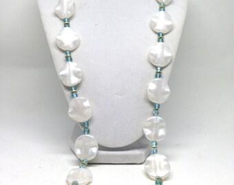 Vintage Estate Snow White Single Strand Floral Blue Crystal  Bead Necklace