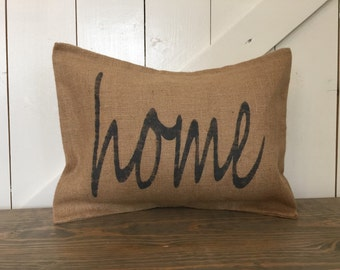 Home pillow, Word pillow, Burlap pillow