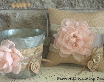 Ring Bearer Pillow, Flower Girl Basket, Rustic Wedding, Blush Pink, Burlap, Wedding Ring Pillow, Rustic