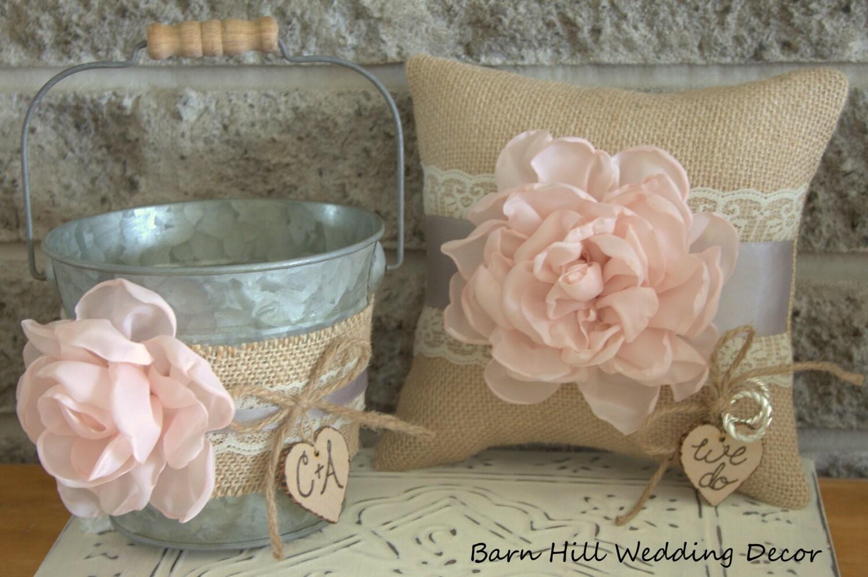 Flower Girl Basket Montreal : Ring bearer pillow flower girl basket rustic wedding blush