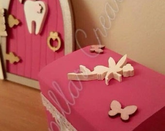 Tooth fairy door with matching tooth fairy collection/deposit box