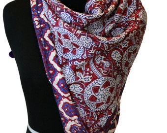 Block printed traditional sindhi ajrak silk scarf