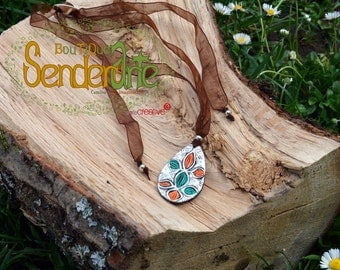 Colgante lagrima naranja-turquesa / / Orange-turquoise teardrop during / / Orange-turquoise teardrop pendant