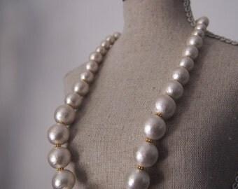 white cotton pearl necklace