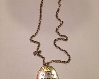 Hope Poem Necklace with Dove
