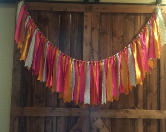 Pink & Gold Fabric Garland