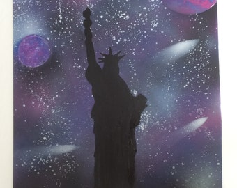 Spray paint Statue of Liberty space