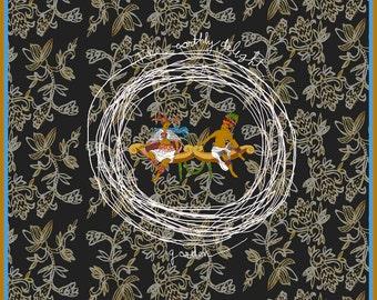 Scarf ' The garden of earthly delight ' /  100 % silk